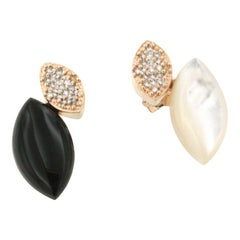 18 Karat Rose Gold with Onix Mother of Pearl and Diamonds Earrings