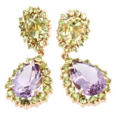 18 Karat Rose Gold with Peridot Amethyst and Lemon Quartz Earrings