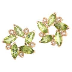 18 Karat Rose Gold with Peridot and White Diamonds Earrings