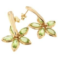 18 Karat Rose Gold with Peridot Earrings