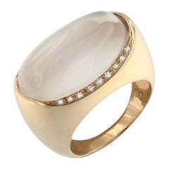 18 Karat Rose Gold with Pink Quartz and White Diamond Ring