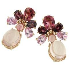 18 Karat Rose Gold with Pink Tourmaline and Pink Quartz Earrings