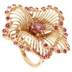 18 Karat Rose Gold with Pink Tourmaline and Pink Sapphire Ring
