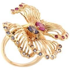 18 Karat Rose Gold With Pink Tourmaline Tanzanite and Pink Sapphire Ring