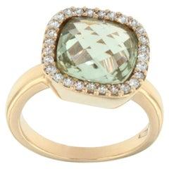 18 Karat Rose Gold with Prasiolite and White Diamond Ring