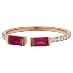 18 Karat Rose Gold with Ruby and Diamond Cuff Ring