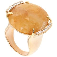18 Karat Rose Gold with Yellow Sapphire and White Diamonds Ring
