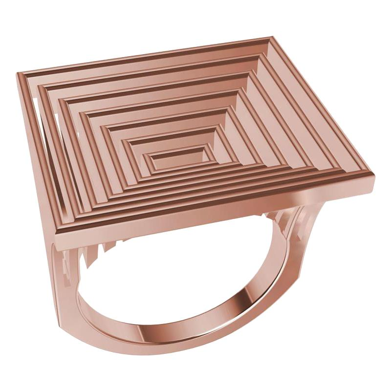 18 Karat Rose Gold Women's Rectangle Rows Ring