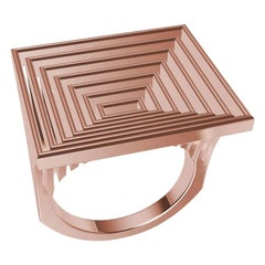18 Karat Rose Gold Women's Rectangle Rows Ring