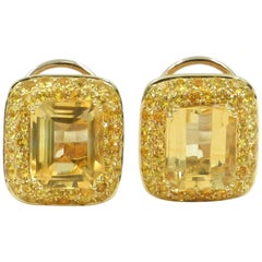 18 Karat Rose Gold Yellow Sapphire and Citrine Garavelli Earrings