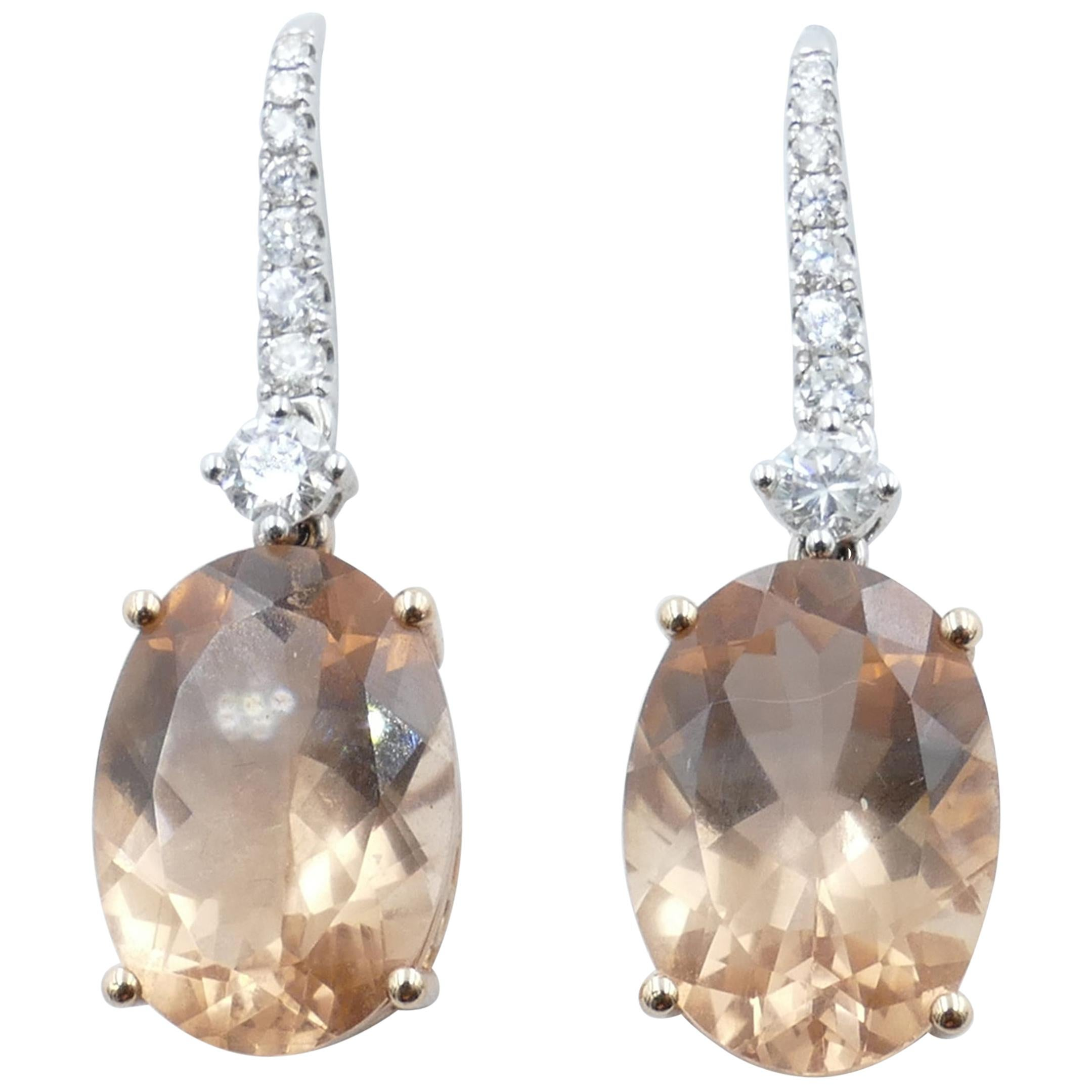 18 Karat Rose or White Gold Morganite and Diamond Drop Earrings