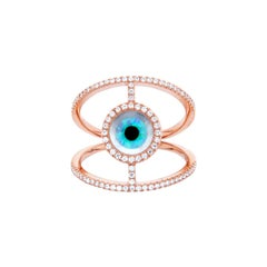 18 Karat Rose P Gold Ring with Diamonds, Turquoise and Mother of Pearl Inlay