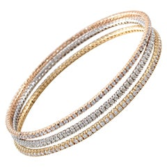 18 Karat Rose, White and Yellow Gold Diamond Bangle Set