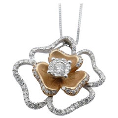 18 Karat Rose/White Gold Diamond Flower Cluster Pendant