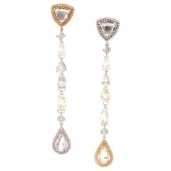 18 Karat Rose & Yellow Gold D'Joya Rock Candy Earrings with Fancy Color Diamonds