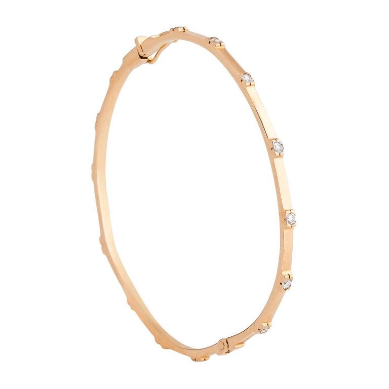 18 Karat Rose Gold with 11 White Diamonds and 0.15 Carat Bangle Cuff Bracelet