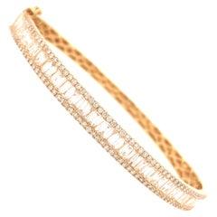 18 Karat Round and Baguette Diamond Bangle Yellow Gold