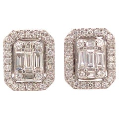 18 Karat Round and Baguette Diamond Cluster Earrings White Gold