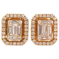18 Karat Round and Baguette Diamond Cluster Earrings Yellow Gold