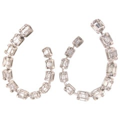 18 Karat Round and Baguette Diamond Open Hoop Earring White Gold