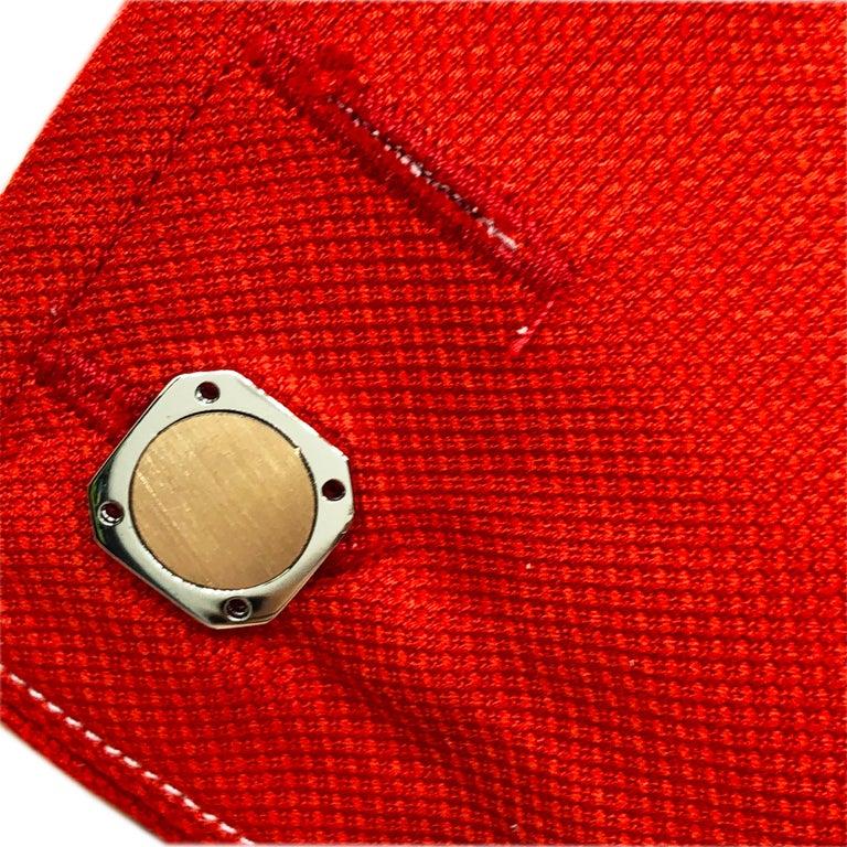 18 Karat Round Brushed Rose Gold Squared Shaped Sterling Silver Cufflinks For Sale 5