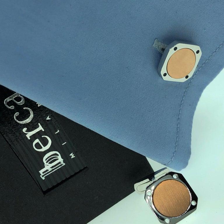 18 Karat Round Brushed Rose Gold Squared Shaped Sterling Silver Cufflinks For Sale 7