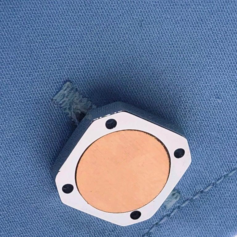 18 Karat Round Brushed Rose Gold Squared Shaped Sterling Silver Cufflinks For Sale 8