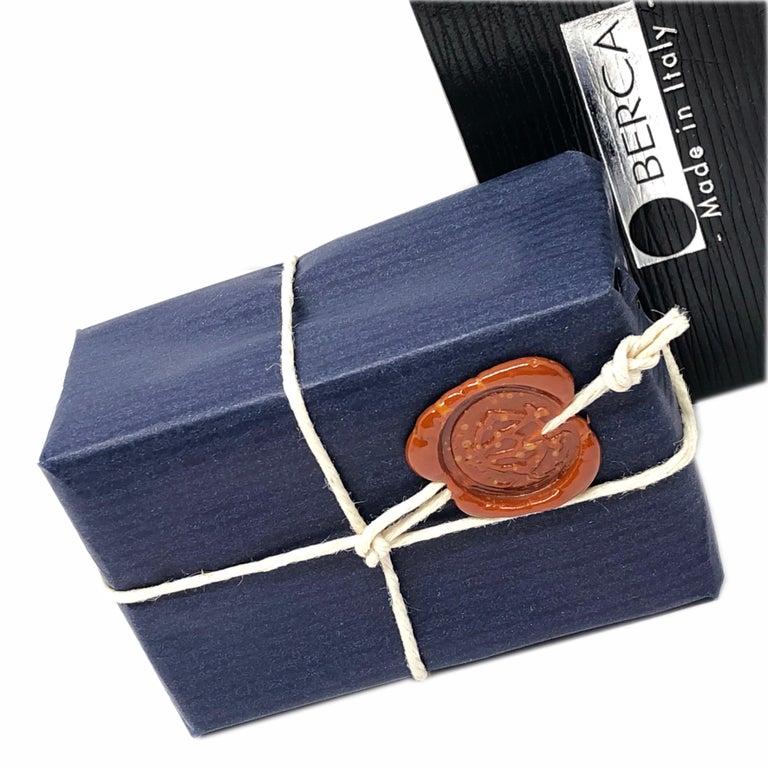 18 Karat Round Brushed Rose Gold Squared Shaped Sterling Silver Cufflinks For Sale 12