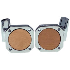 18 Karat Round Brushed Rose Gold Squared Shaped Sterling Silver Cufflinks