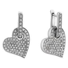 18 Karat Round Diamonds Heart Drop Earrings