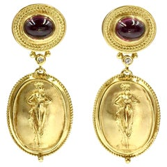 18 Karat Rubelite and Diamond Greek Revival Earrings
