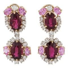 18 Karat Rubelite Diamond Pink Sapphire Earrings