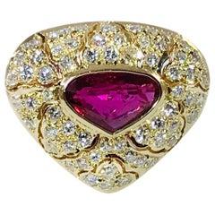 18 Karat Rubellite Tourmaline Diamond Ring
