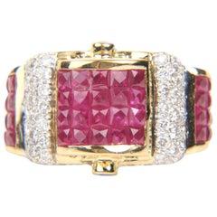 18 Karat Illusion Ruby and 1.21 Carat Diamond Ring