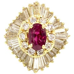 18 Karat Ruby and Diamond Ballerina Ring