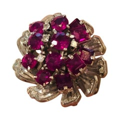18 Karat Ruby and Diamond Cluster Ring, circa 1980