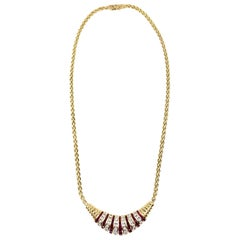 18 Karat Ruby and Diamond Curved Bar Necklace