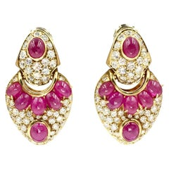 18 Karat Ruby and Diamond Drop Earrings