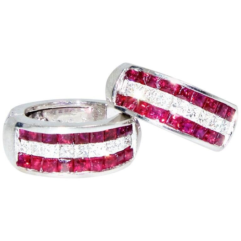 18 Karat Ruby and Diamond Earrings For Sale
