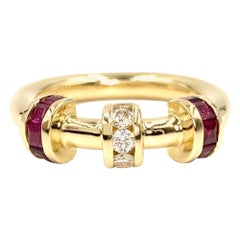 18 Karat Ruby and Diamond Modern Bar Ring