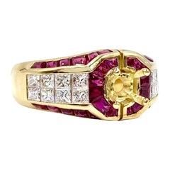18 Karat Ruby and Diamond Mounting Ring