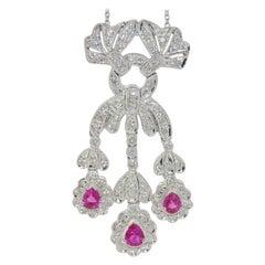 18 Karat Ruby and Diamond Pendant Necklace