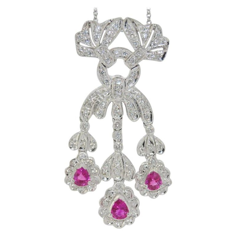 18 Karat Ruby and Diamond Pendant Necklace For Sale