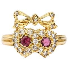 18 Karat Ruby and Diamond Sweetheart Ring