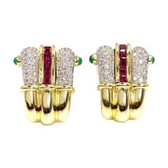 18 Karat Ruby, Diamond and Emerald Earrings