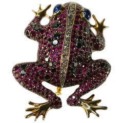 18 Karat Ruby, Diamond and Sapphire Frog Brooch