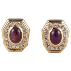 18 Karat Ruby Diamond Clip Earrings