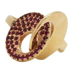 18 Karat Ruby Interlocking Circles Architectural Ring