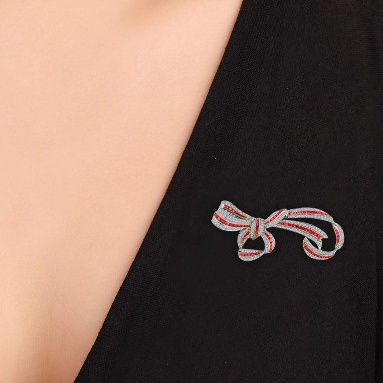 Women's 18 Karat Ruby Ribbon Diamond Brooch 4.32 Carat For Sale