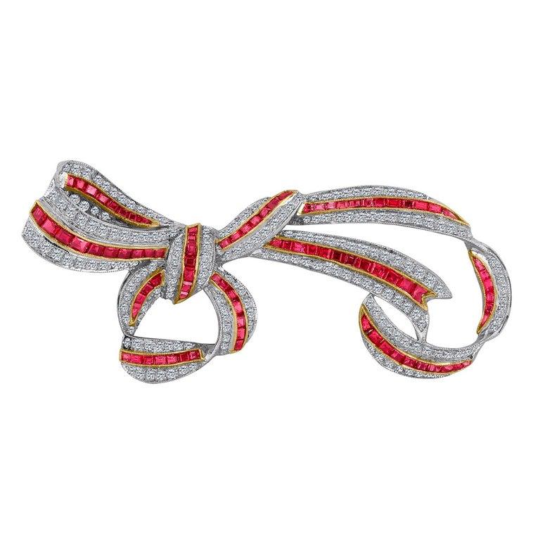 18 Karat Ruby Ribbon Diamond Brooch 4.32 Carat For Sale